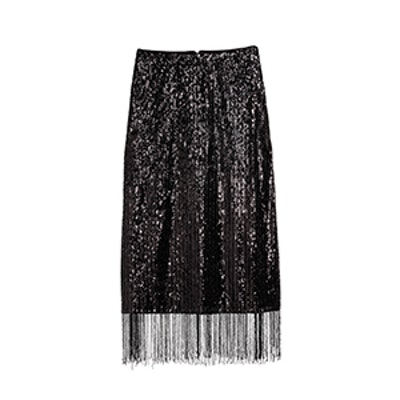 Calf-Length Sequined Skirt