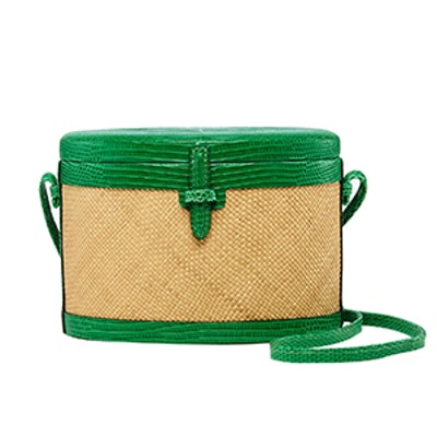 Lizard-Trimmed Woven Raffia Shoulder Bag
