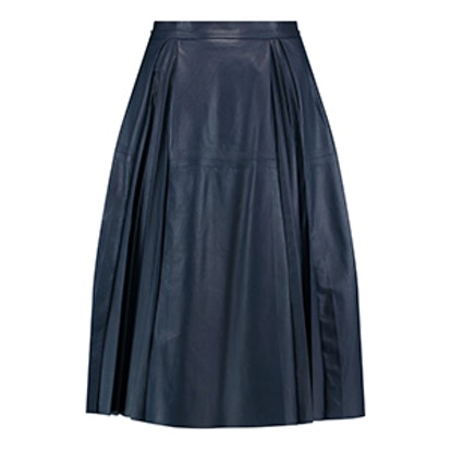 Cynthia Pleated Leather Skirt