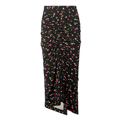 Jessica Ruched Floral-Print Stretch-Crepe Midi Skirt