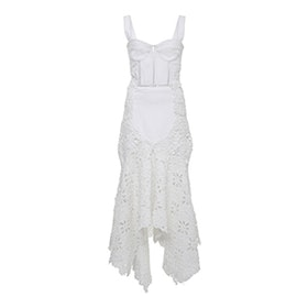 Macramé Denim Bustier Dress