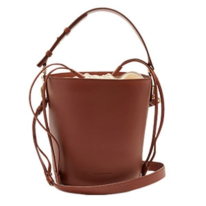Bucket Leather and Canvas Tote