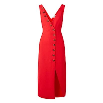 Christy Button-Detailed Pique Midi Dress
