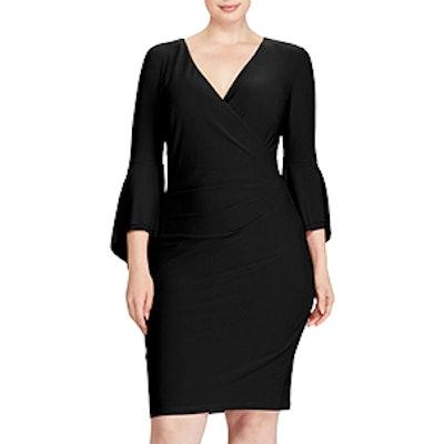 Bell Sleeve Faux Wrap Dress