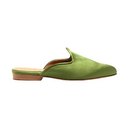 Backless Satin Slipper Shoes