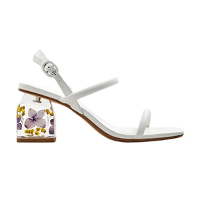 Flowered Heel Leather Sandals