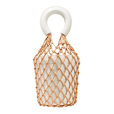 Moreau Macramé And Leather Bucket Bag in White