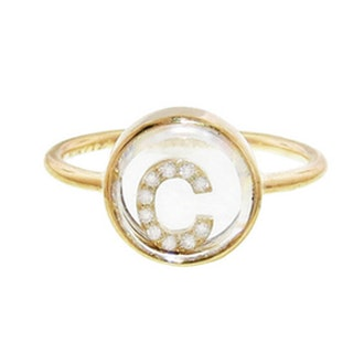 Floating Pavé Diamond Initial Ring