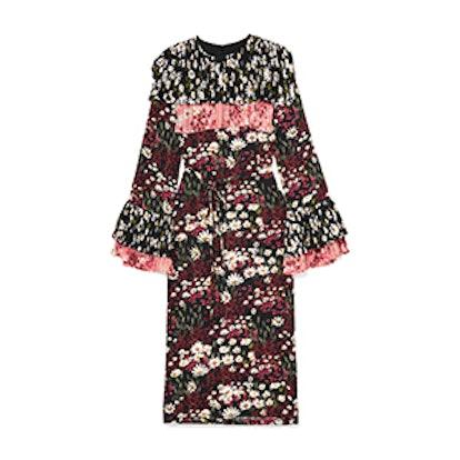 Anner Pleated Floral-Print Silk-Blend Georgette Midi Dress