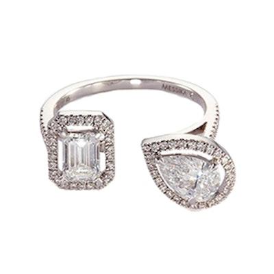 My Twin Diamond 18K White Gold Ring