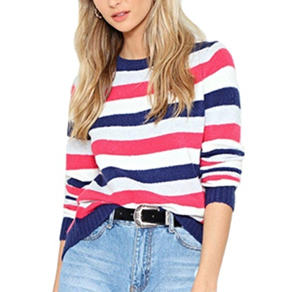 Stripe Up The Crowd Knit Sweater