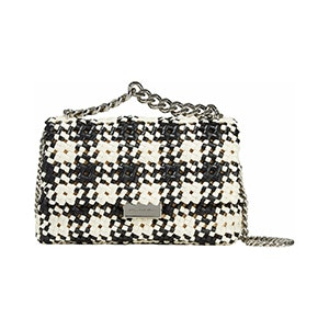 Two-Tone Woven Faux-Leather Shoulder Bag