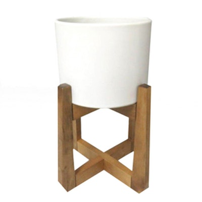 Wood & Stoneware Indoor Planter