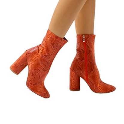 Elsa Sock Fit Round Heel Ankle Boots In Orange Faux Snake