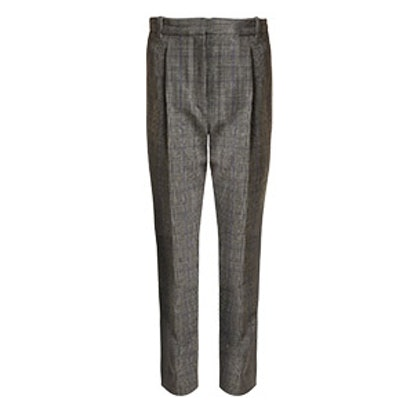High-Rise Checked Cropped Trousers