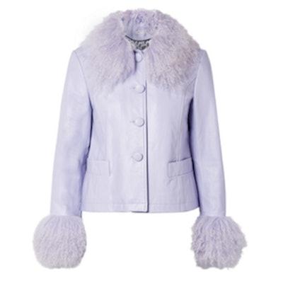 Dorthe Shearling-Trimmed Leather Jacket