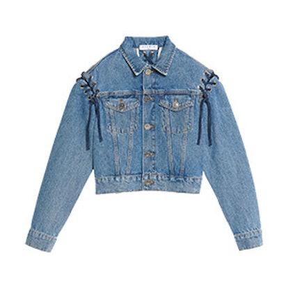 Denim Jacket with Lace-Up Details