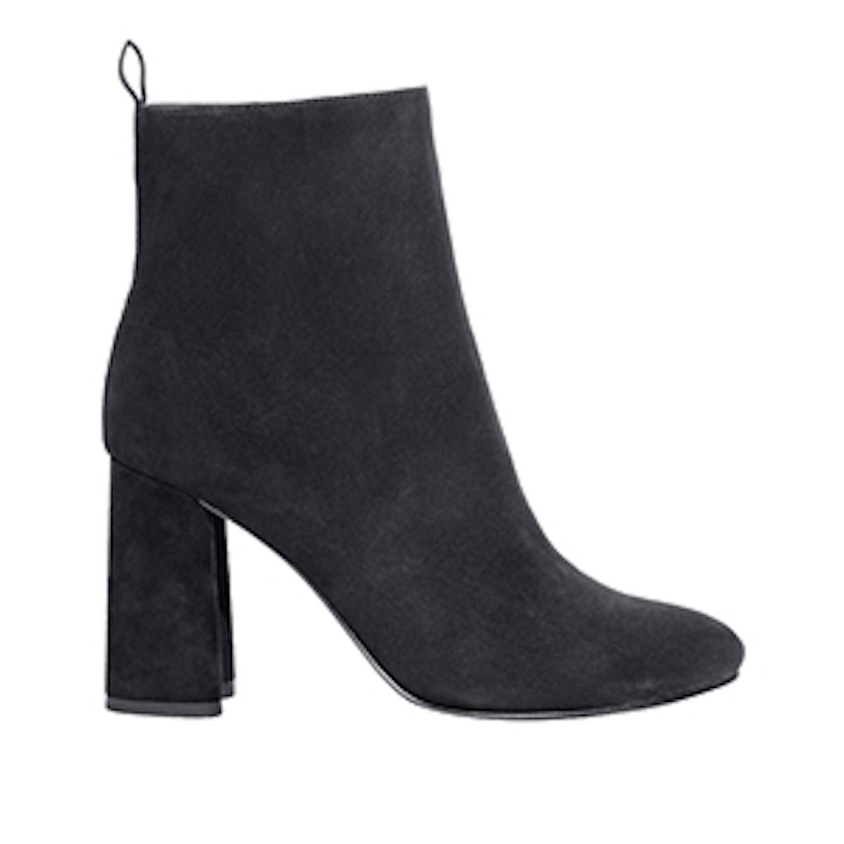 Sculpted Heel Suede Boots