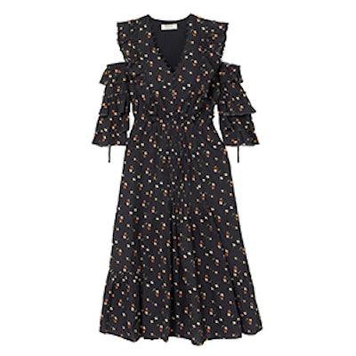 Cold-Shoulder Floral-Print Cotton-Dobby Dress