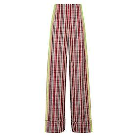 Grosgrain-Trimmed Checked Canvas Wide-Leg Pants