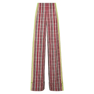 Grosgrain-Trimmed Checked Canvas Wide-Leg Pants