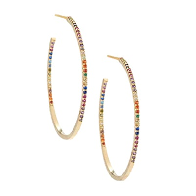 Pavé Rainbow Crystal Hoop Earrings