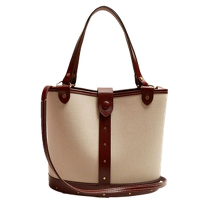 Bucket Leather-Trimmed Canvas Bag
