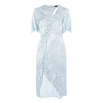 Jacquard Twist Midi Wrap Dress
