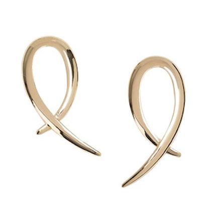 Curved Cross Over Drop Earrings
