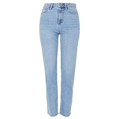 Moto Bleach Raw Hem Straight Leg Jeans