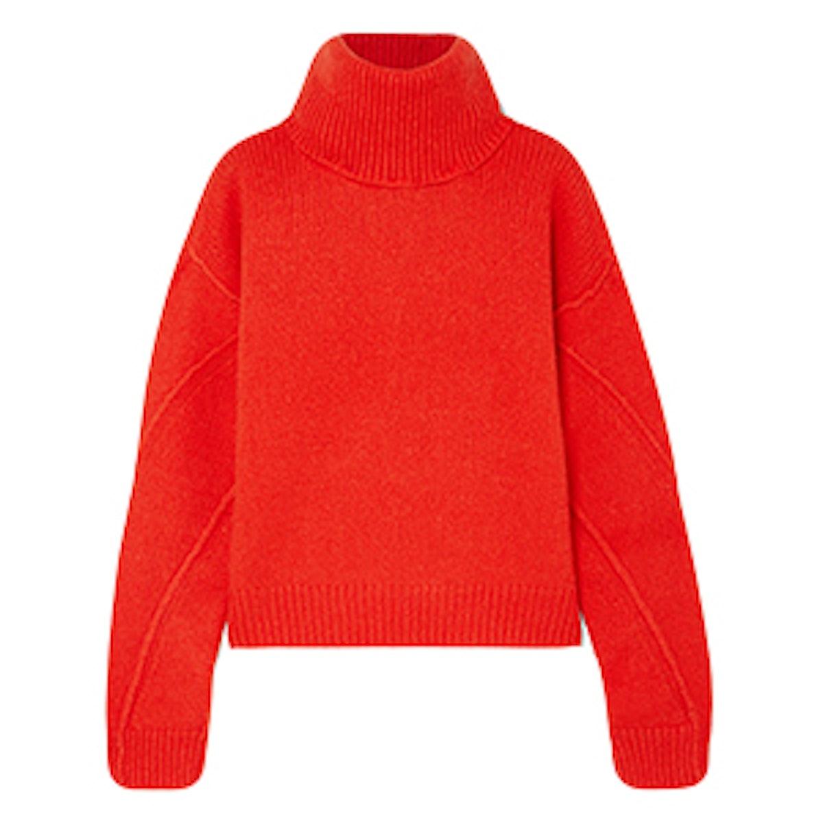 Eva Convertible Oversized Wool-Blend Turtleneck Sweater