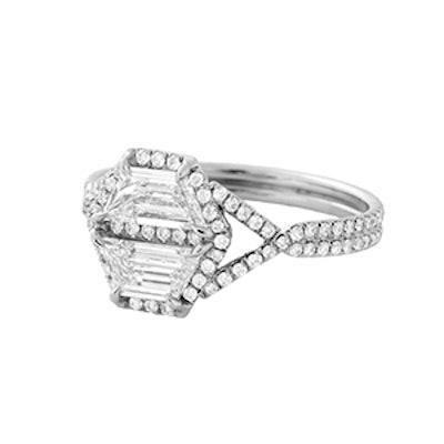 Two Antique Step Cut Trapezoidal White Diamond Ring