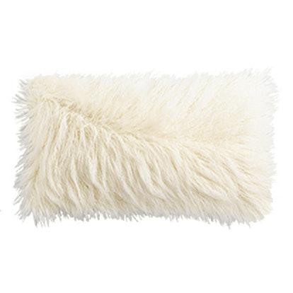 Oversized Ivory Mongolian Faux Fur Lumbar Pillow