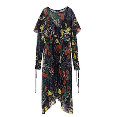 Shiny Print Pleated Dress