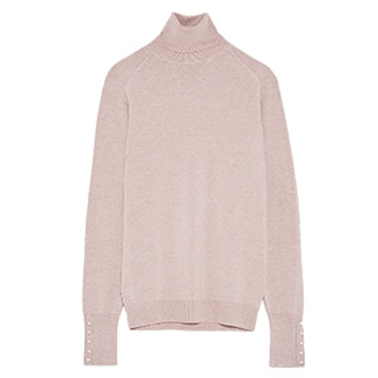 Turtleneck Sweater With Pearl Buttons