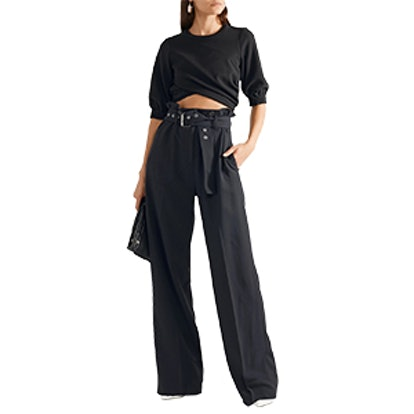Belted Pinstriped Twill Wide-Leg Pants