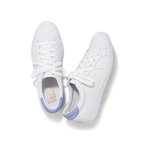 Ace Leather In White/Pale Iris