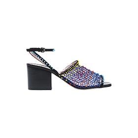 Suede-Trimmed Bead-Embellished Mesh Sandals