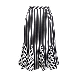 Fluted Striped Stretch Wool And Cotton-Blend Skirt