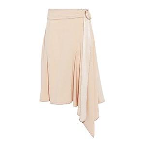 Belted Satin-Trimmed Crepe Skirt