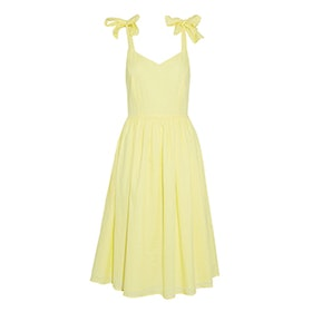 Renny Bow-Detailed Pleated Cotton-Voile Dress