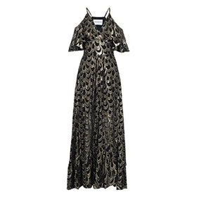 Cold-Shoulder Ruffled Metallic Fil Coupé Silk-Blend Chiffon Gown