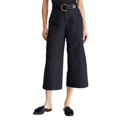Cotton-Linen Wide-Leg Pant