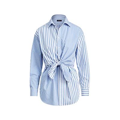 Tie-Front Striped Cotton Shirt