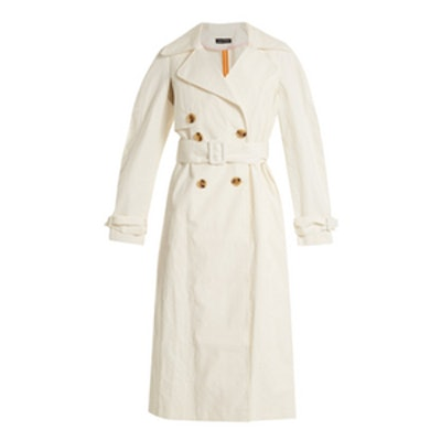 Double-Breasted Coated Linen-Blend Trench Coat