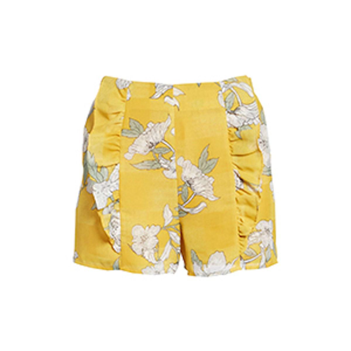 Ruffle Front High Waist Shorts
