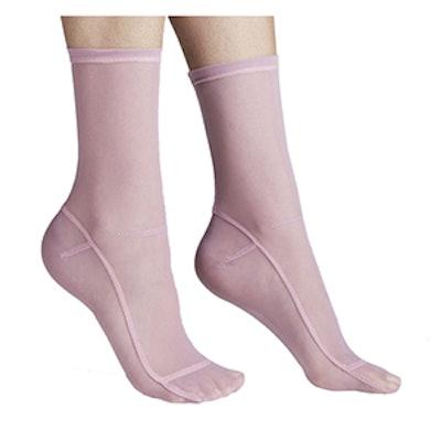 Solid Pink Mesh Socks