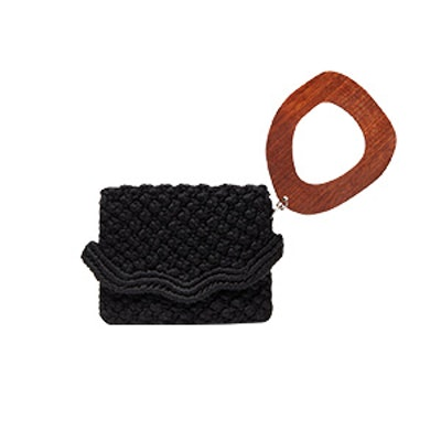 Macrame Clutch With Wooden Handle