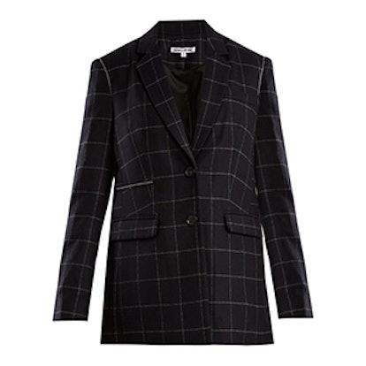 Caprice Windowpane-Checked Wool-Blend Blazer