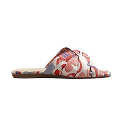 Embroidered Slingback Sandals
